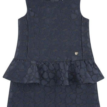 NOV9O2 Armani Girls Navy Peplum Dress