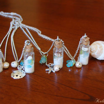 Sand Filled Glass bottle Necklace, Ocean theme, Sea glass, Glass vial, Affordable wedding necklace, beach necklace, Nautical necklace
