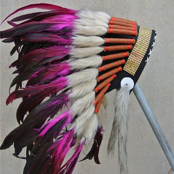 21inch hot pink Chief Indian feather Headdress with gold headband Native American War Bonnet  hand made indian headdress costume