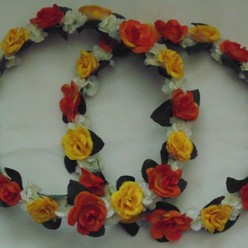 Orange and Yellow Rose Flower Crown