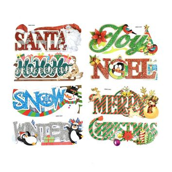 Glitter 3D Christmas Holiday Word Art Stickers, 5-1/2-Inch, 8-Piece