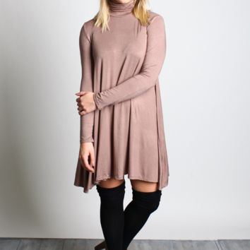 Taupe Turtle Neck Swing Dress