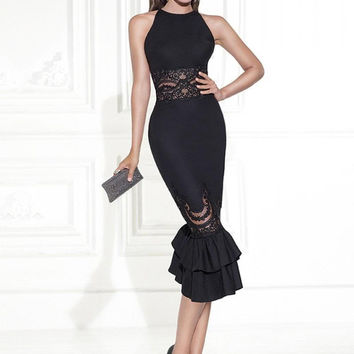 Elegant Tank Style Knee Length Mermaid Cocktail Dresses with Appliques 2016 Robe De Cocktail Black with Lace Women Party Dress