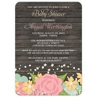 Baby Shower Invitations - Rustic Floral Wood Baby's Breath