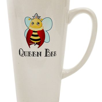 Queen Bee Text 16 Ounce Conical Latte Coffee Mug by TooLoud