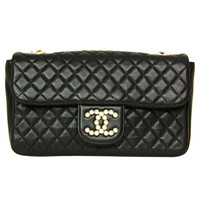 Chanel Black Quilted Leather Westminster Classic Flap Bag W Pearl