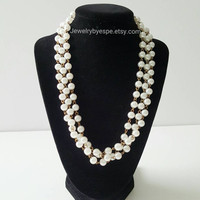 White Pearl Necklace, Chunky Bib Necklace, Pearl Vintage Necklace, Necklaces for Bridesmaid Jewelry, Pearl Necklace