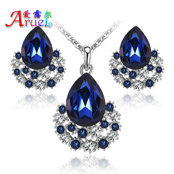 New Fashion Austria Crystal Earrings Necklace Sets Platinum  Plated Women Bridal Classic Wedding rhinestone romantic Jewelry Set