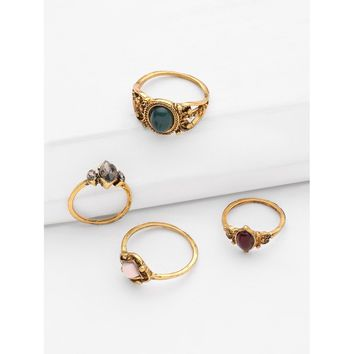 Gemstone Design Retro Ring Set 4pcs