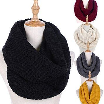 Women Winter Knit Infinity Scarf Fashion Circle Loop Scarves Thick Warm(Red/Black/Beige)