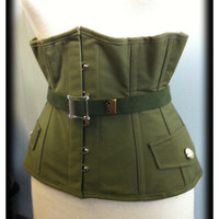 Military steel boned under bust corset