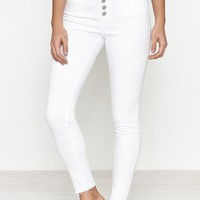 PacSun Bold White Exposed Button High Rise Jeggings at PacSun.com