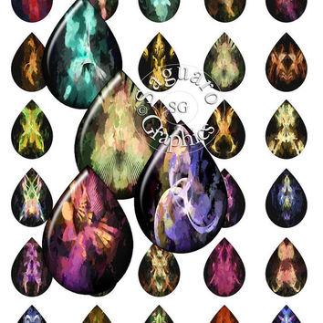 Abstract Fingerpaint Art - Digital Collage Sheets - 28x40mm Teardrops for Jewelry Makers, Party Favors, Crafts Projects