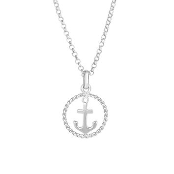 Sterling Silver Anchor Pendant Womens Necklace, 18""