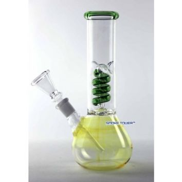 "8"" Fumed Glass Mini Bong With Green Coil Perc - Eco Bongs - 26.99 US and Canada"