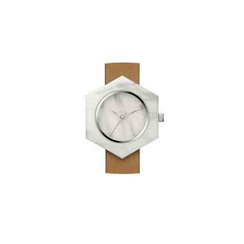 White Marble Hex Body Watch
