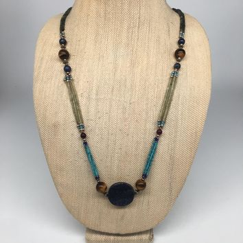 "46.3g, 2mm-28mm,Lapis Nephrite Jade Beaded Necklace @Afghanistan,29"", NPH80"