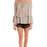 RUFFLED OFF THE SHOULDER TUNIC DRESS - TAUPE