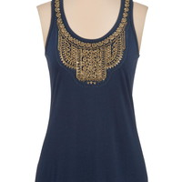 Metallic Bead Embellished Scoop Neck Tank - Blue