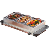 Brentwood Triple Buffet Server With Warming Tray & Three 1.5-quart Steel Pans