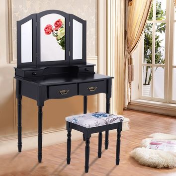 Giantex Black Tri Folding Mirror Vanity Makeup Table Stool Set Home Bedroom Furniture Modern Dressers with 4 Drawers HW54073BK