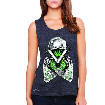 Zexpa Apparel™ Marilyn Monroe Weed Bandana Women's Muscle Tee American Beauty Guns Tanks