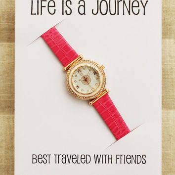 Best Friends Gift Card Perfect Friend Christmas Gift Woman Pink Strap Fashion Watch