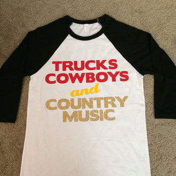 Trucks Cowboys and Country Music - Raglan - Jersey Shirt - Ruffles with Love