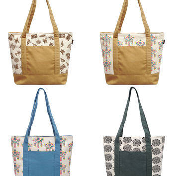 Watercolor Aztec Patterns Print 100% Cotton Canvas Vintage Shoulder Bags WAS_13