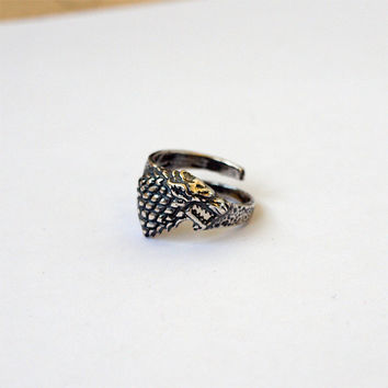 Game of thrones Stark Wolf Ring Jewelry Silver plated Brass Size 6,5