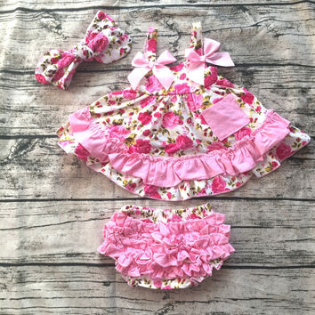 2017 New arrival baby summer dress baby girl swing tops swing dress pink flower swing outfits with matching ruffed bloomer set
