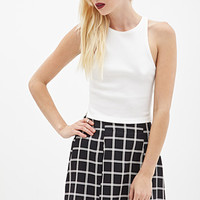 FOREVER 21 Pleated Windowpane Skirt Black/Cream