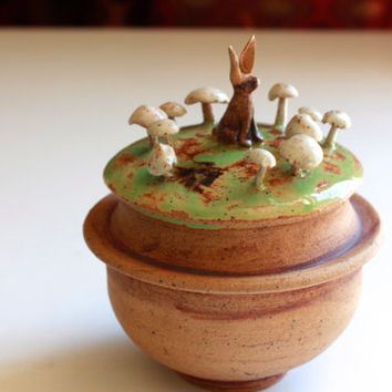 Rustic Woodland lidded jar, rabbit and fairy ring, mushroom lidded jar, fairy ring pottery, Mushroom Pottery