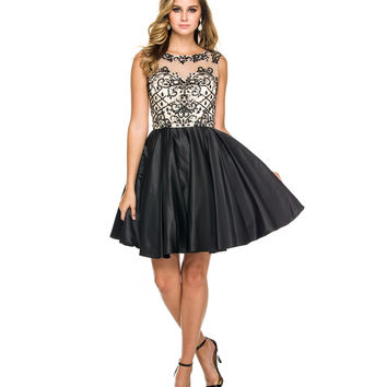 Black & Nude Beaded Bodice Short Dress 2015 Homecoming Dresses