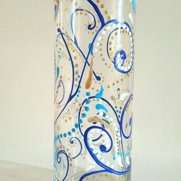 Blue sparkly swirls hand painted glass vase, decorated vase, painted vase, fancy vase, decorative glass vase, handpainted vase, gift for her
