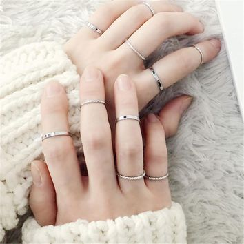 10PCS/SET Fashion Simple Design Vintage Gold Silver Color Joint Rings Sets for Women Jewelry J7213