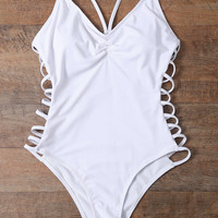 One Pieces White Hollow Bikini Set Swimsuit