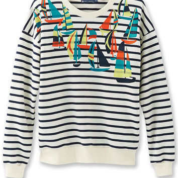 Navy and white stripe Boat print Petit Bateau Sweatshirt