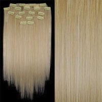 "FACILLA® 8 20"" #613 Bleach Blonde Straight Full Head Clip In Synthetic Hair Extensions"