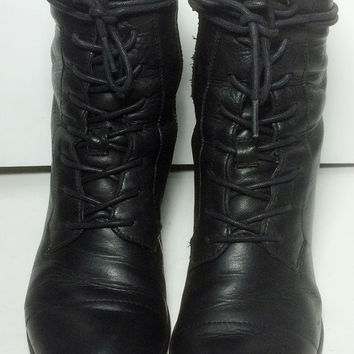 Frye 71066 Courtney Lace Up Black Leather Vintage Western Boots Women's Size 6.5
