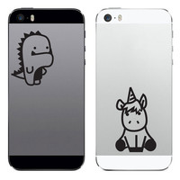 TechTattz Legendary Besties Dinosaur and Unicorn Vinyl Decal Sticker for Phone Tablet Laptop