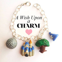 Walt Disney World Parks Polymer Clay Charm Bracelet Magic Kingdom Epcot Hollywood Studios Animal Kingdom