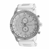 White Silicone Sport Watch with Silver Tone Accents
