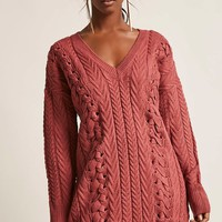 Cable Knit Mini Sweater Dress