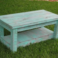 Rustic Coffee Table with Shelf in Aqua