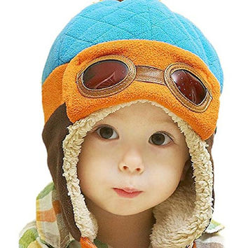 AP&AS Unisex Baby Winter Warm Cap Hat Beanie Pilot Aviator Cartoon Knit Toque Blue