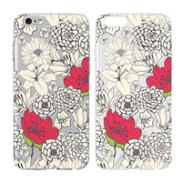 Case for Iphone 6/Iphone 6S-Cream Cookies-Vintage Floral Flowers Watercolor-Baroque Retro Court Flowers Pattern Texture-Clear Pattern Premium Ultra Slim Hard Plastic Cover Case