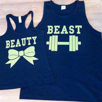 Free/Fast Shipping for US Beauty And The Beast Matching Couples Tank Tops/Shirts:Black(gold decal)