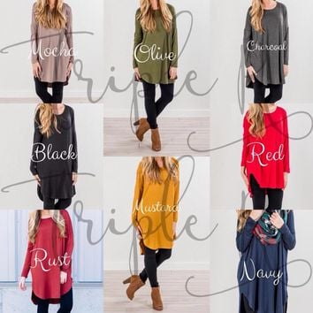 Solid Piko Style Tunics - Long Sleeve