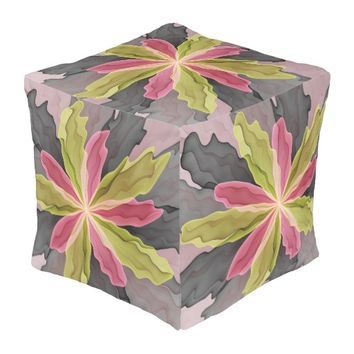 Joy, Pink Green Anthracite Fantasy Flower Fractal Pouf